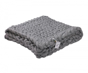 Pled wełniany 140x180 We Love Beds Chunky Grey Pearl